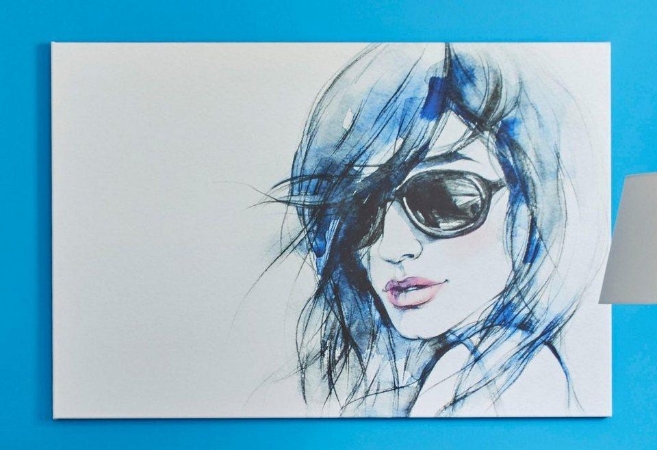Premium collection by Home affaire Leinwandbild »I wear my sunglasses«, in 2 Größen in blau/weiß