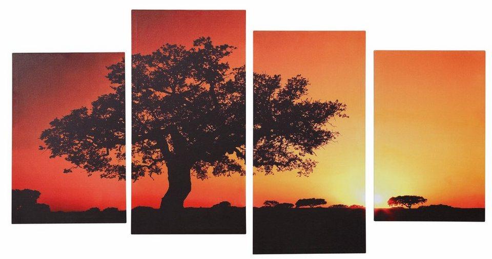Home affaire Keilrahmenbilder »Afrika« (4-tlg.) in rot