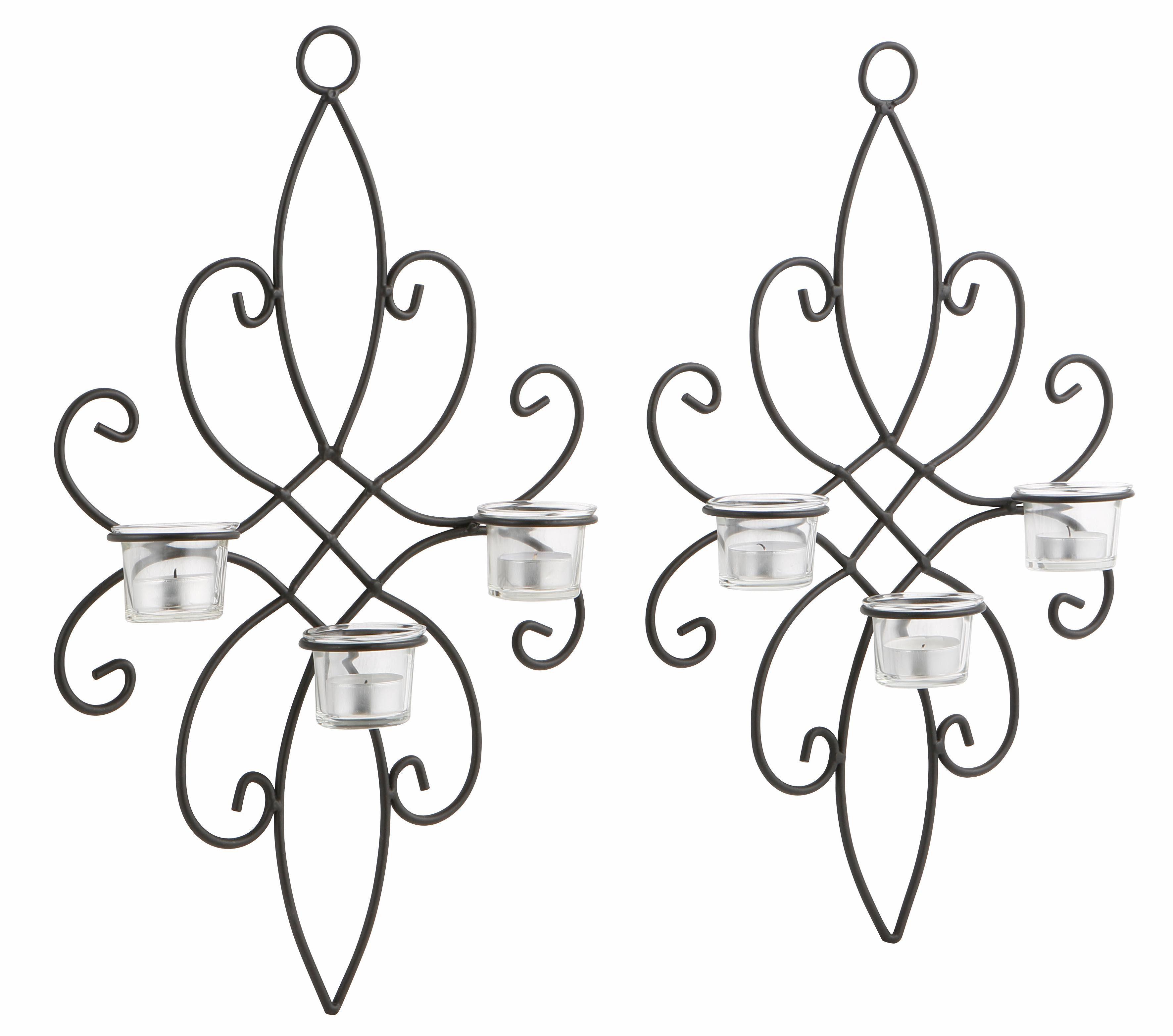 Home affaire Wandkerzenhalter (2er Set) mit Glaseinsätzen