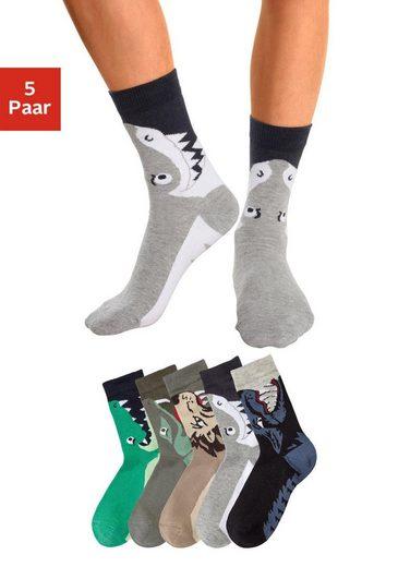 Socken (5-Paar) mit Tiermotiven