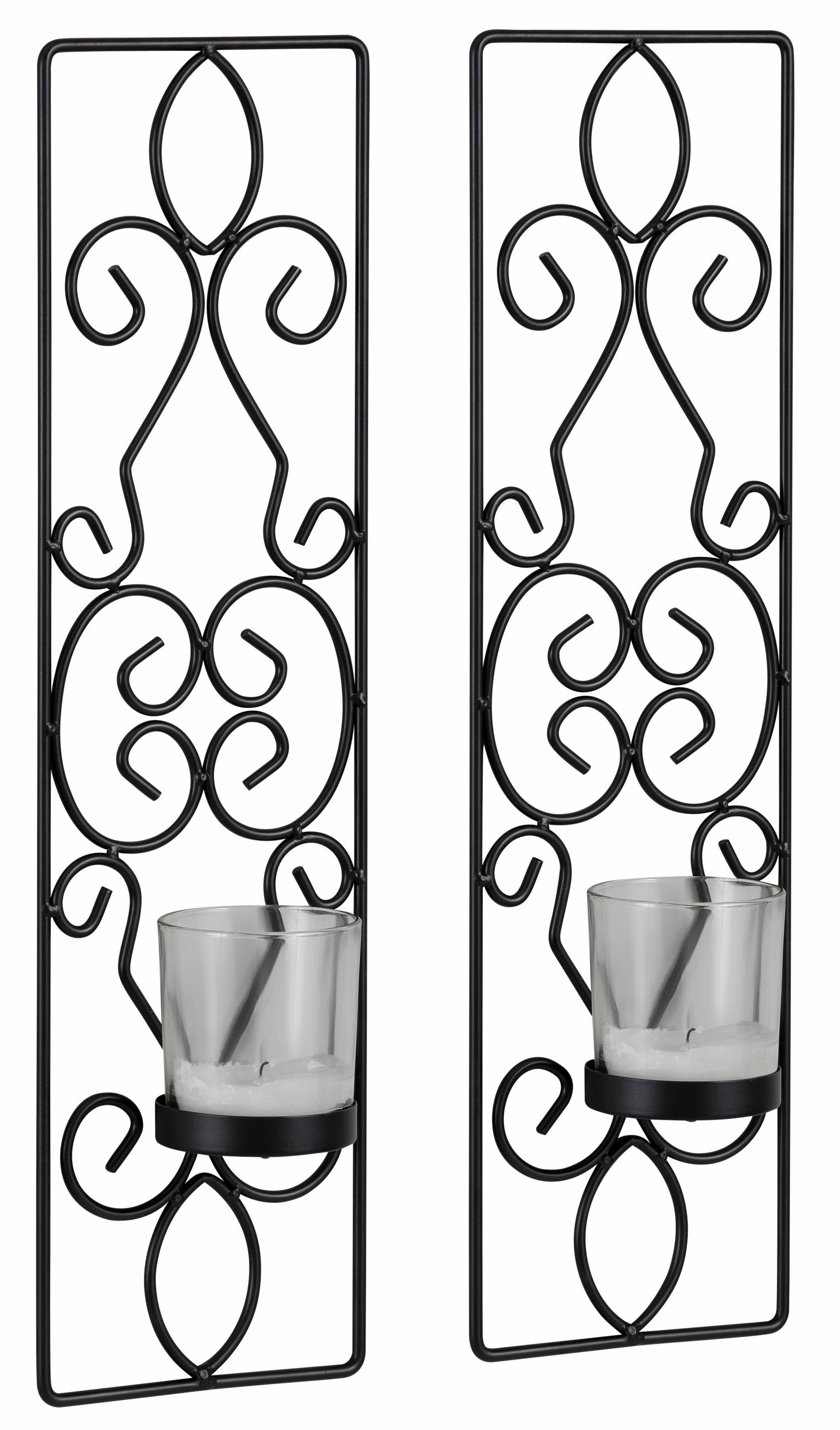 Home affaire Wandkerzenhalter (2er Set) mit Teelichtgläsern