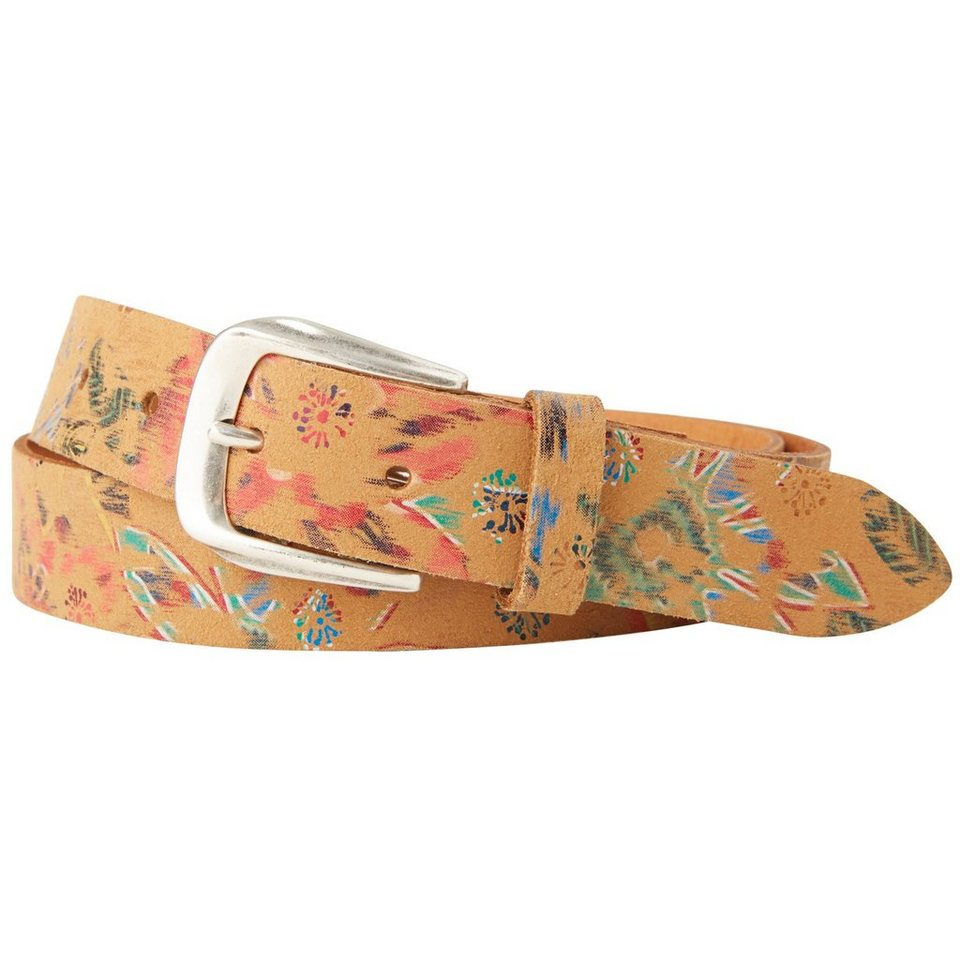 TOM TAILOR Gürtel »leather belt with colored flower print« in beige
