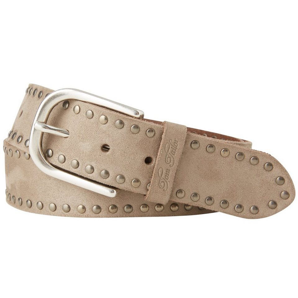 TOM TAILOR Gürtel »suede leather belt with rivets« in taupe