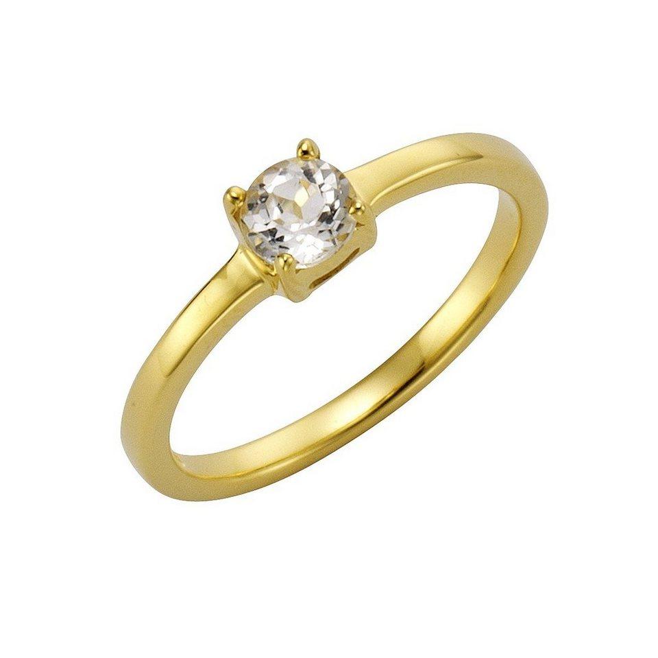 Zeeme Ring »925/- Sterling Silber vergoldet mit Weißtopas« in gelb