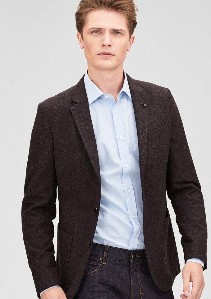 s.Oliver BLACK LABEL Regular: Fein meliertes Sakko in brown
