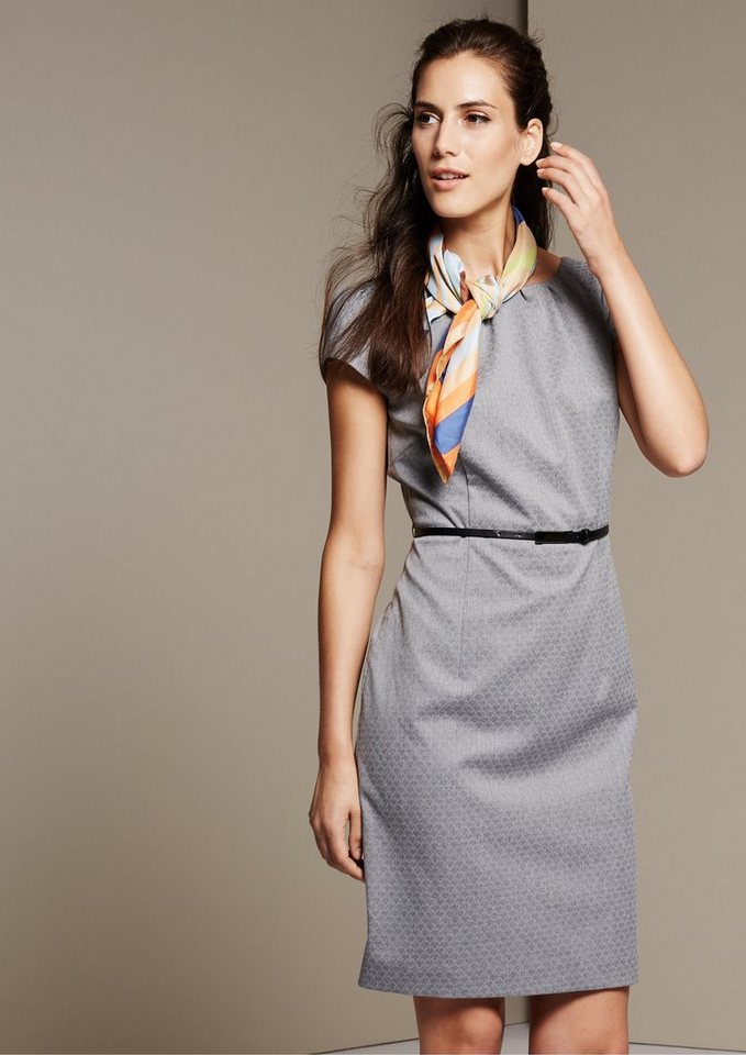 COMMA Edles Abendkleid mit raffiniertem Ton-in-Ton Muster in grey AOP