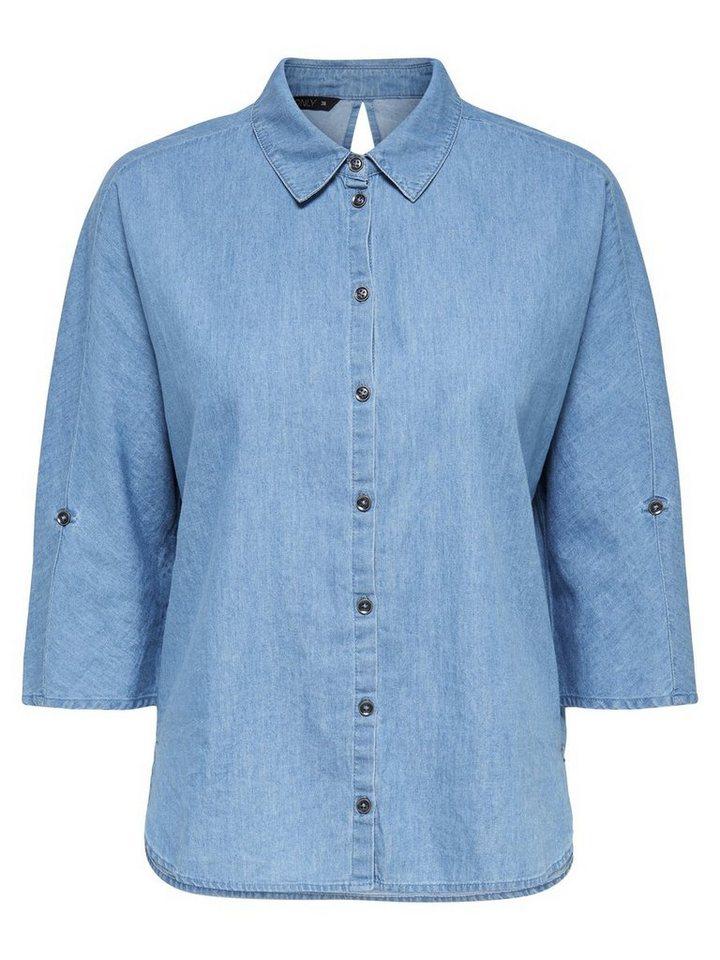 Only Lässiges Hemd in Medium Blue Denim