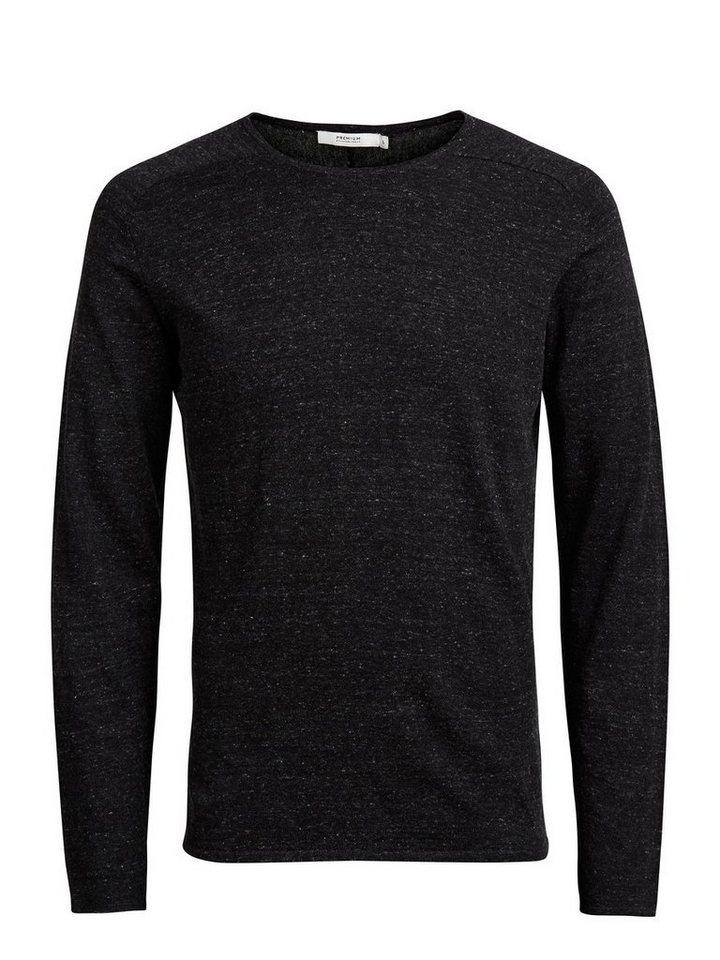 Jack & Jones Raglan- Pullover in Dark Grey Melange