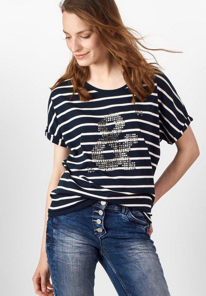 CECIL Streifenshirt mit Foilprint in deep blue