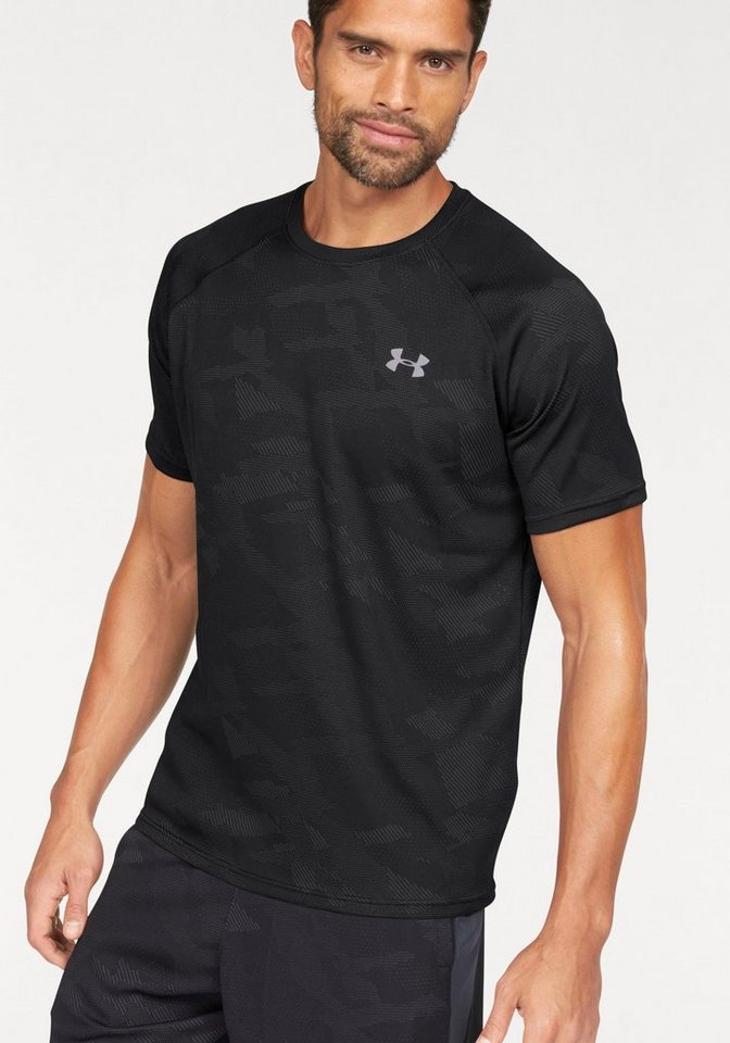 Under Armour® Funktionsshirt »UA TECH JACQUARD TEE« in schwarz-grau
