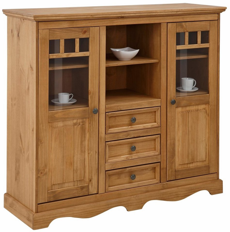 Home affaire Highboard »Melissa«, Breite 132 cm in beize/wachs