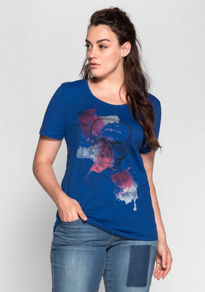 T-Shirt mit Frontdruck in indigo bedruckt