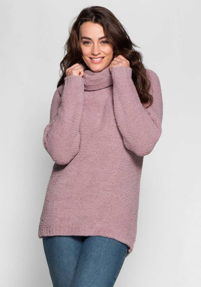 sheego Casual Kuscheliger Pullover aus Chenille in altrosé