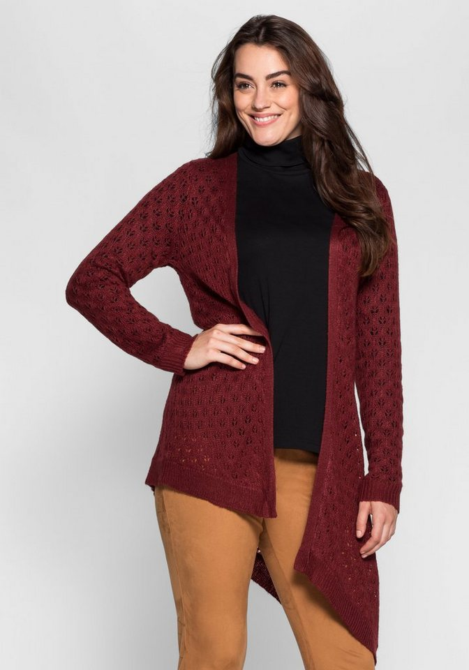 sheego Style Cardigan in Ajourstrick in bordeaux