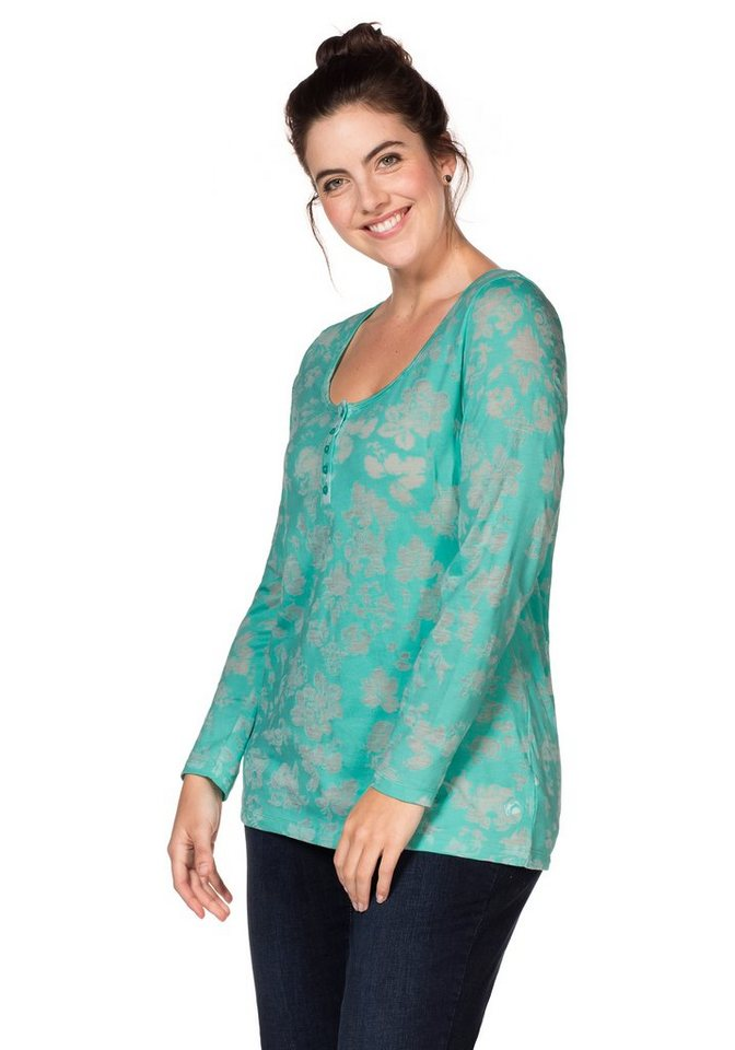 sheego Casual Langarmshirt in Ausbrenner-Qualität in mint