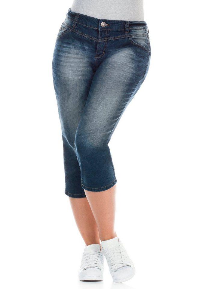 sheego Denim Schmale 3/4-Jeans in blue denim