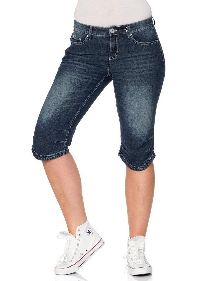 sheego Denim Capri-Jeans mit Used-Effekten in dark blue denim