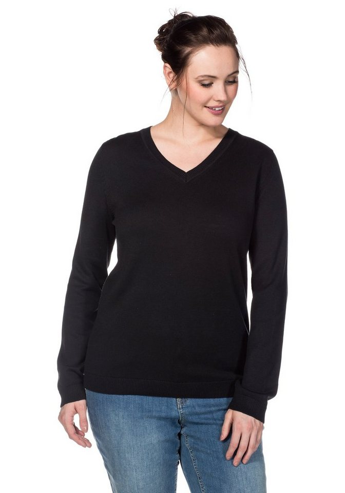 sheego Casual BASIC Pullover in schwarz
