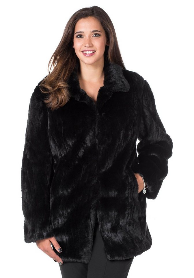 sheego Style Fellimitat-Jacke in schwarz