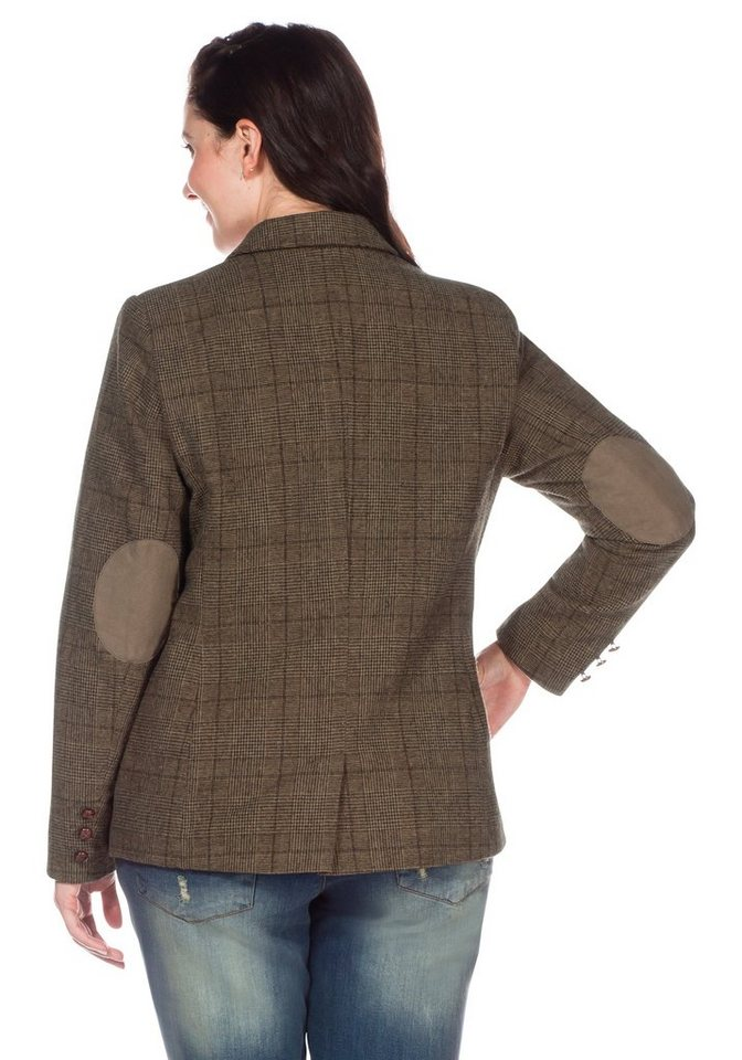 sheego Casual Tweed-Blazer mit Ellbogen-Patches in braun