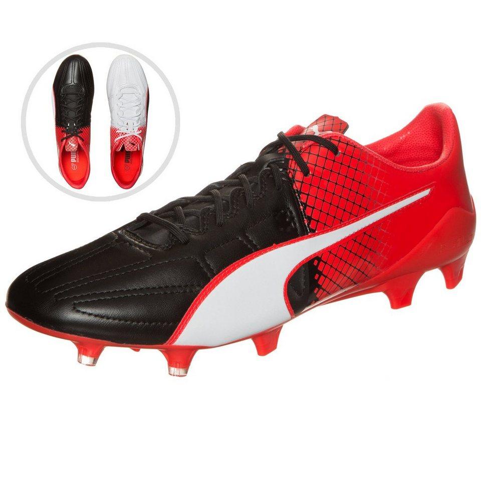 PUMA evoSPEED 1.5 Leather FG Fußballschuh Herren in schwarz / weiß / rot