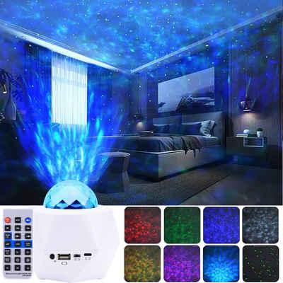 Rosnek LED Nachtlicht »Musik LED Projektor Sternenhimmel Lampe mit Wasserwellen Welleneffekt Lautsprecher USB-betriebene Kindergeschenke«, Sternprojektor