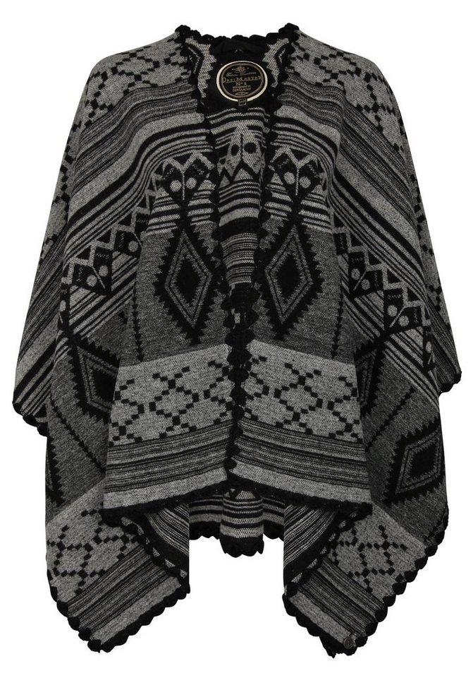 DREIMASTER Poncho in schwarz grau
