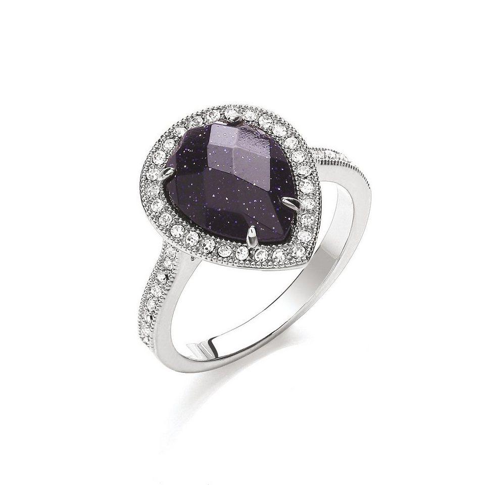 Buckley London Ring »rhodiniert mit Blaufluß und Kristallen« in weiß