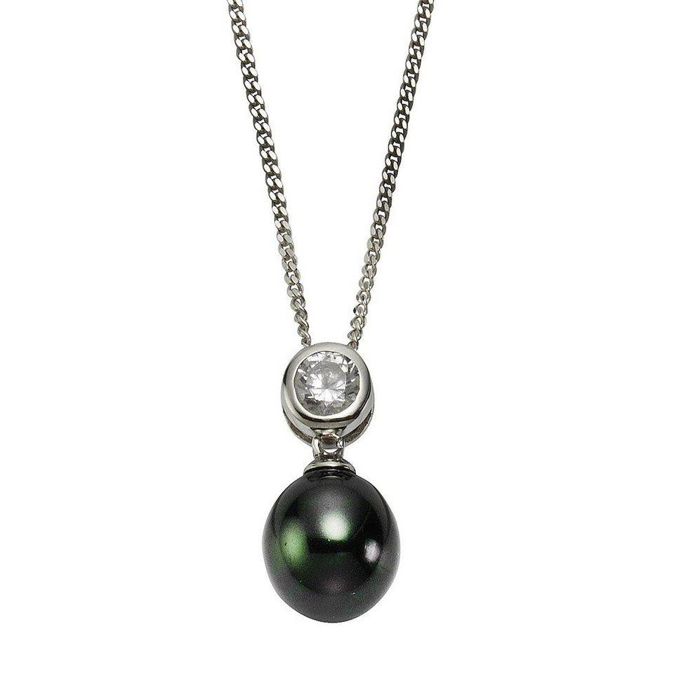 Zeeme Anhänger mit Kette »925/- Sterling Silber Perle schwarz« in weiß