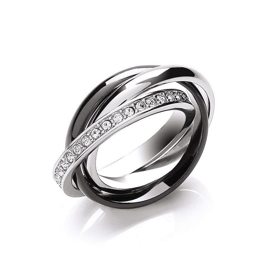 Buckley London Ring »rhodiniert mit Kristallen« in mehrfarbig