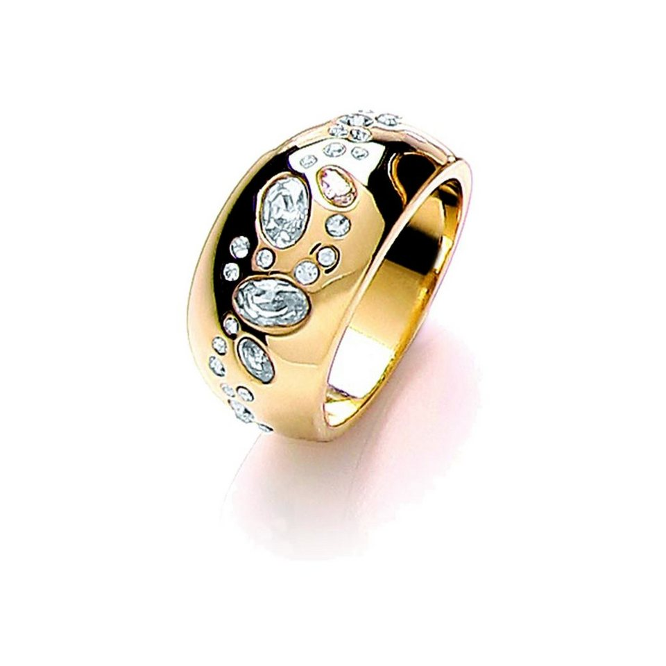 Buckley London Ring »vergoldet mit Kristallen« in gelb