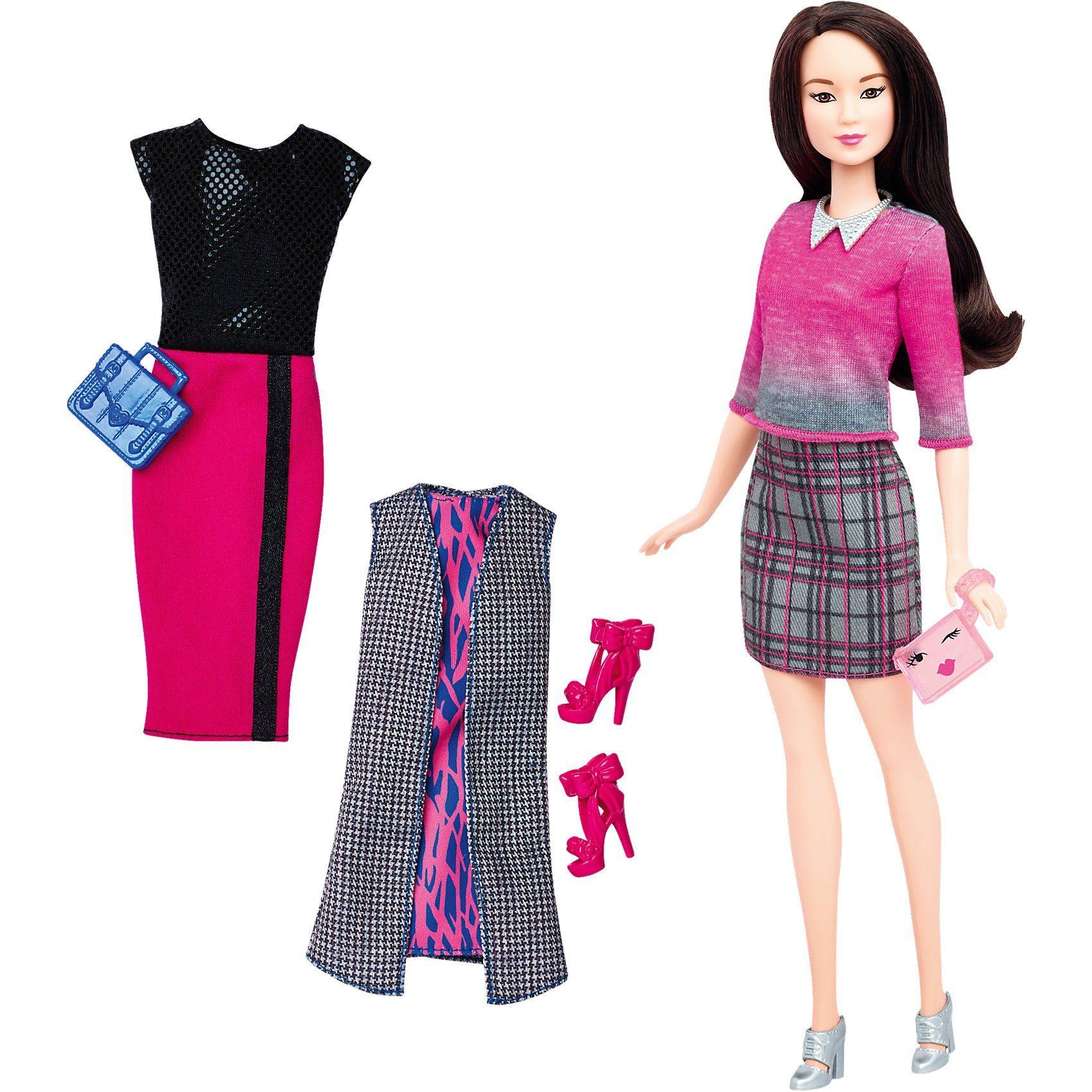 Mattel Barbie Fashionistas Style Puppe und Moden mit Karo-Rock