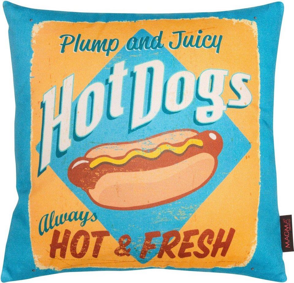 Dekokissen, Magma, »Hot Dog«, mit karierter Wendeseite in blau-gelb