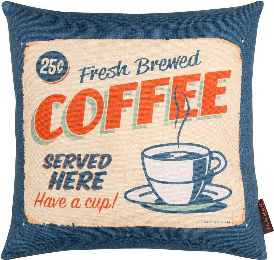 Dekokissen, Magma, »Coffee«, mit karierter Wendeseite in blau-beige