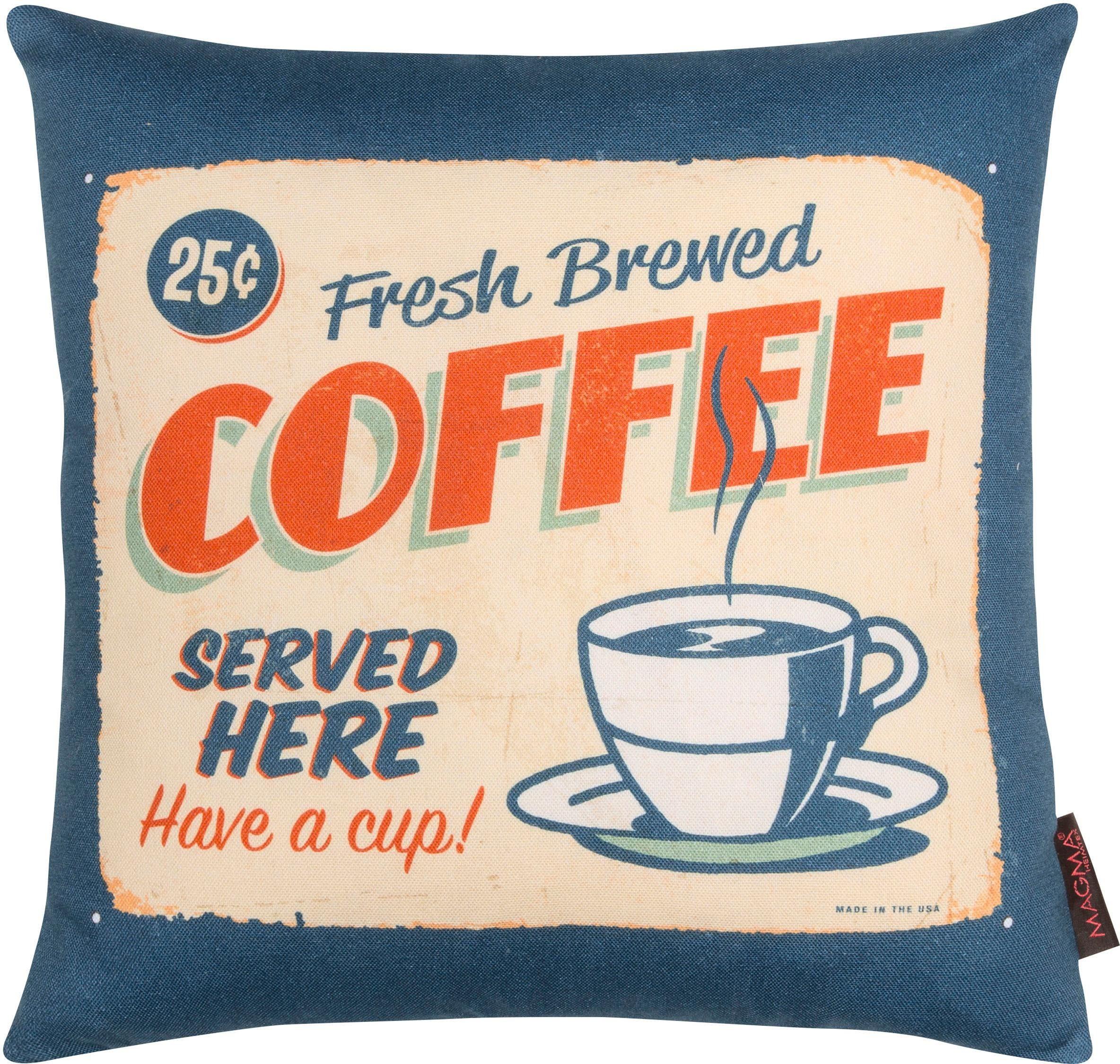 Dekokissen, Magma, »Coffee«, mit karierter Wendeseite