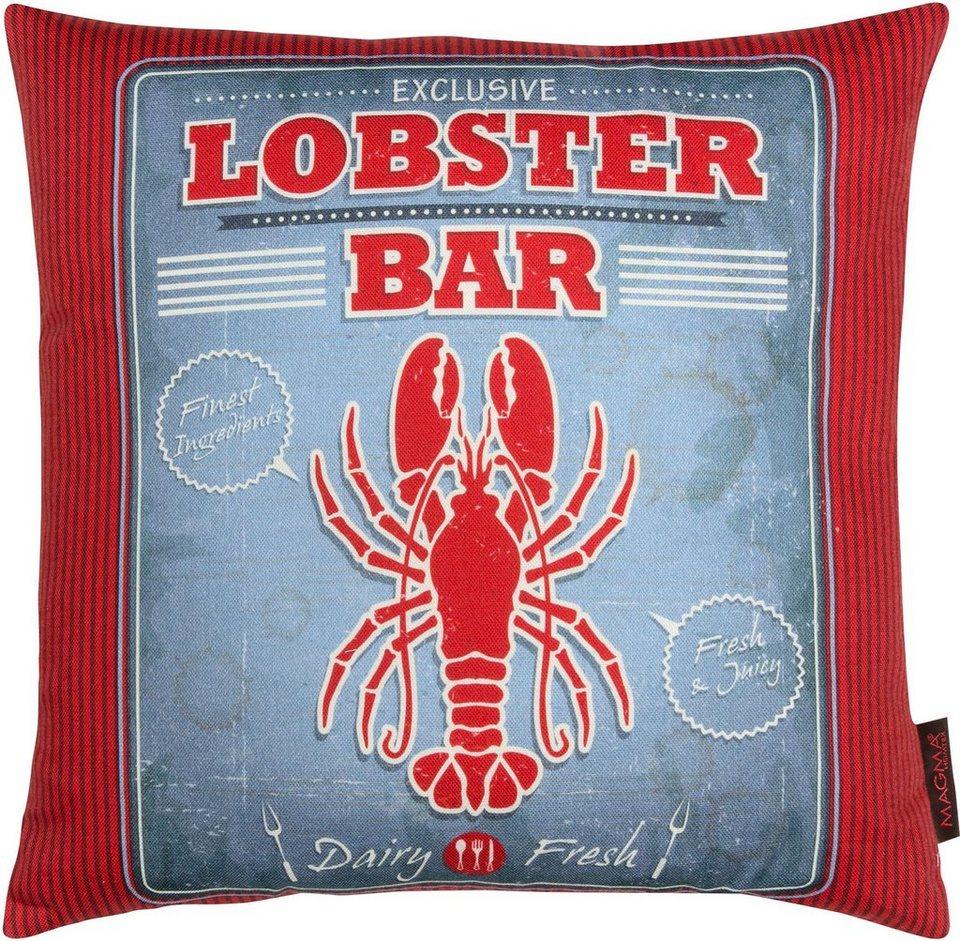 Dekokissen, Magma, »Lobster«, mit karierter Wendeseite in grau-rot