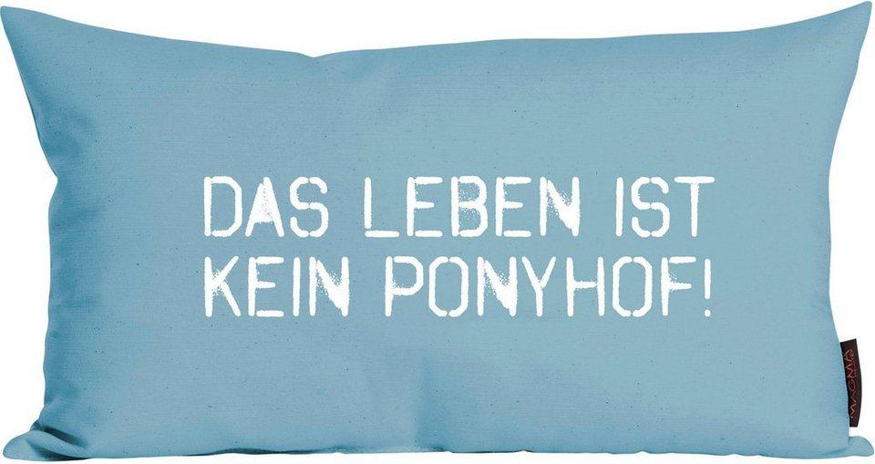 Dekokissen, Magma, »Ponyhof«, mit coolem Zitat in türkis