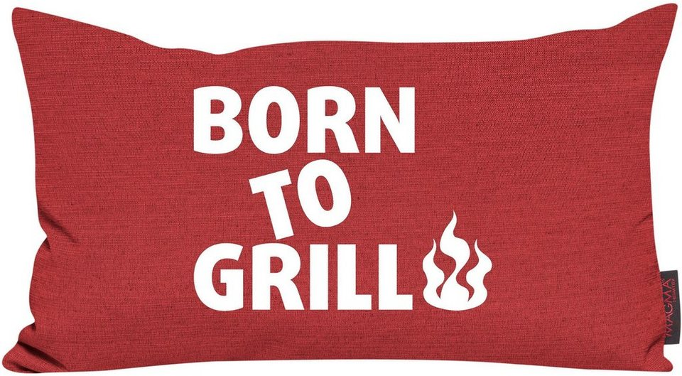 Dekokissen, Magma, »Born to grill«, mit Flammen-Motiv in rot
