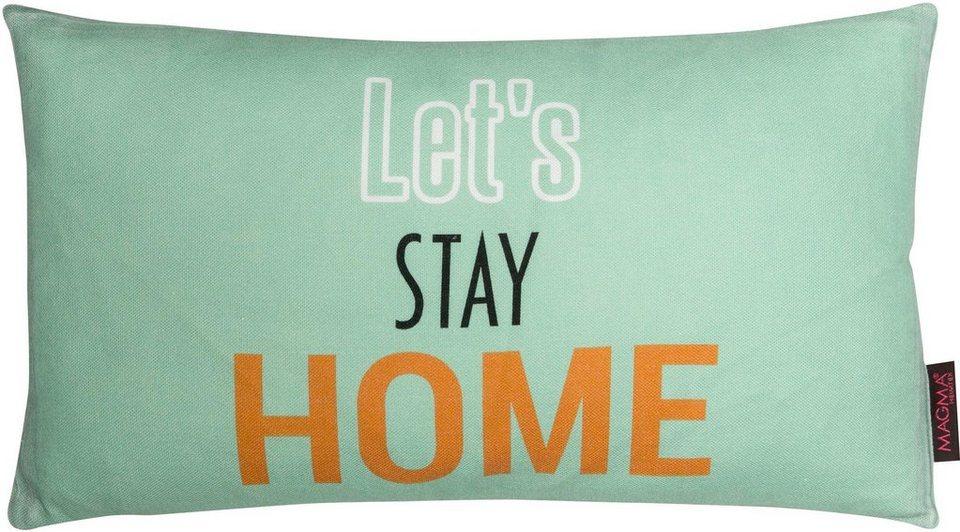 Dekokissen, Magma, »Lets stay home«, in Pastelltönen in pastellgrün