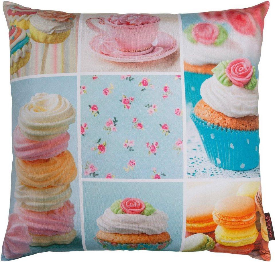 Kissenbezug, Magma, »Cupcake Patchwork«, mit Cupcakes verziert in bunt