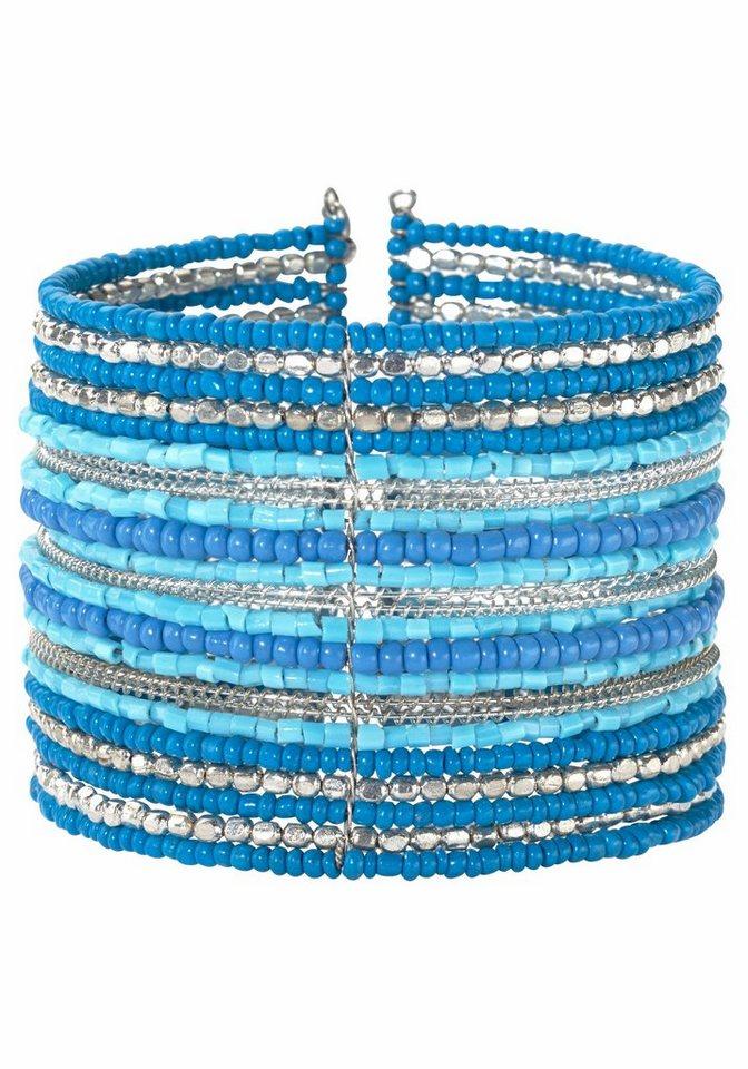 J. Jayz Armspirale mit Zierperlen in blau