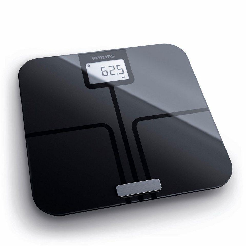 Philips Körperanalyse-Waage DL8780/01, mit App-Anbindung, schwarz in Schwarz