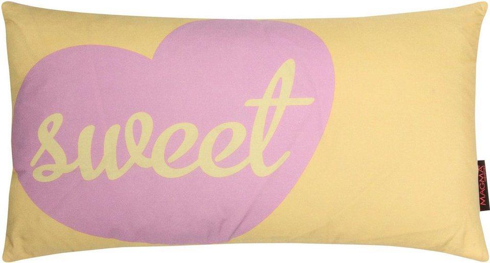 Dekokissen, Magma, »Sweet«, in leuchtenden Farben in gelb-rosa