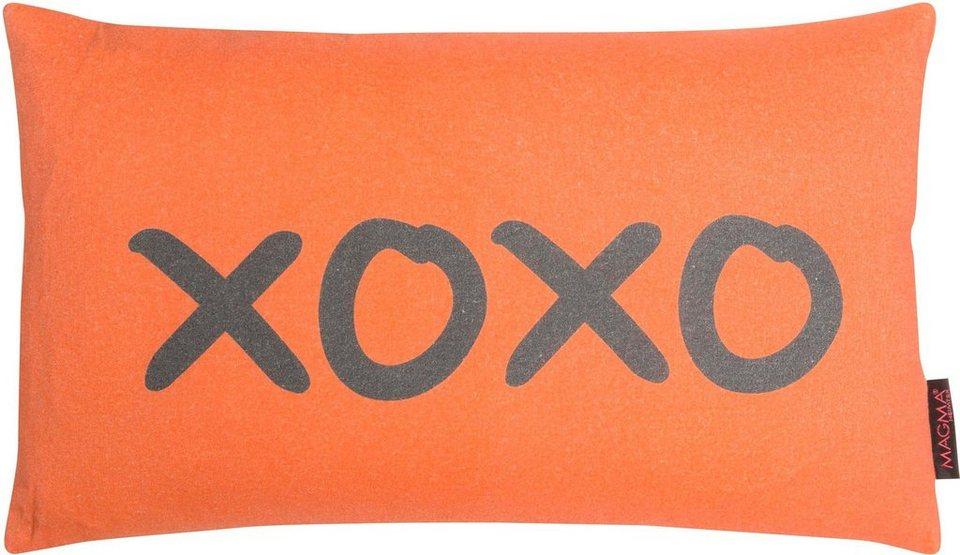 Dekokissen, Magma, »XOXO«, in leuchtenden Farben in orange-grau