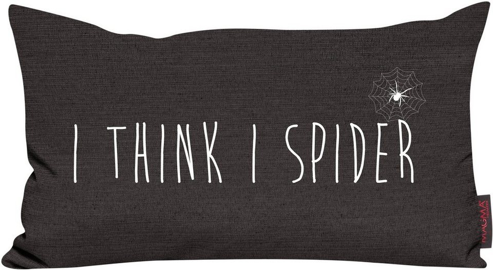 Dekokissen, Magma, »I think I spider«, mit Spruch in anthrazit