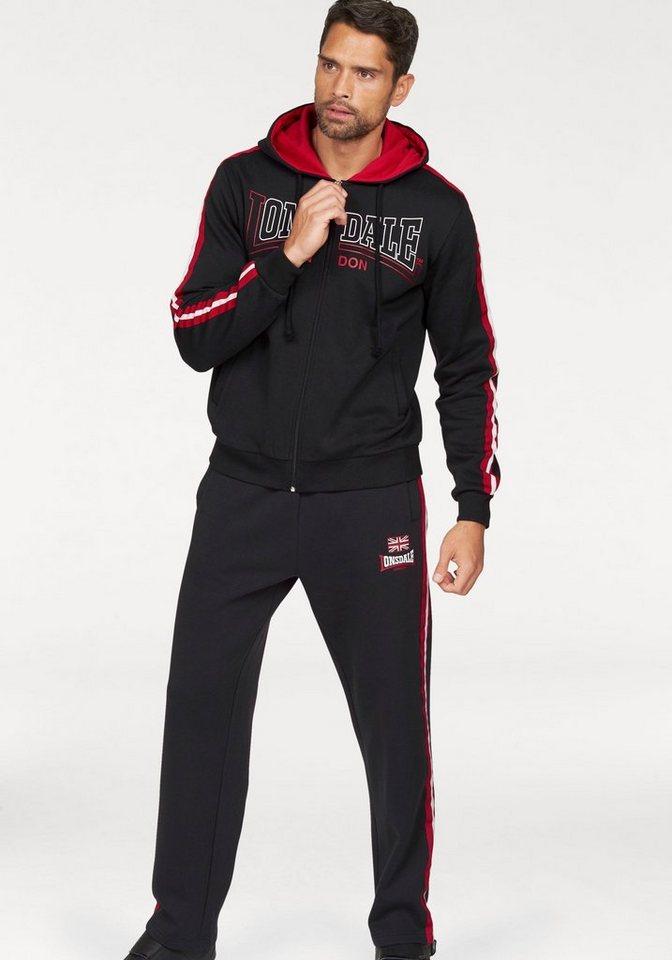 Lonsdale Jogginganzug »Hooded Fleece« in schwarz-rot