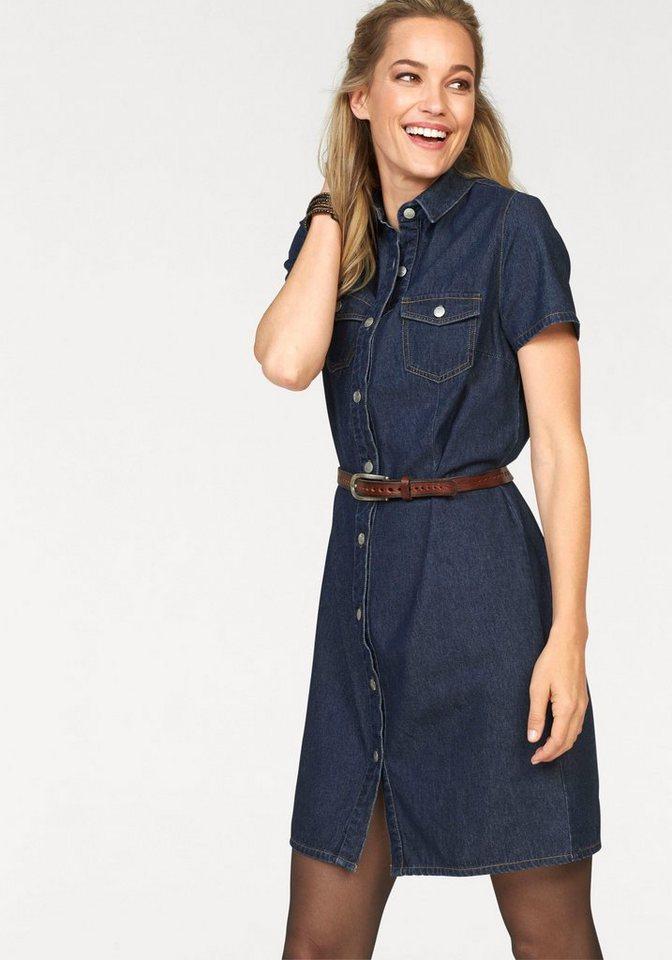 Cheer Jeanskleid mit durchgehender Knopfleiste in darkblue