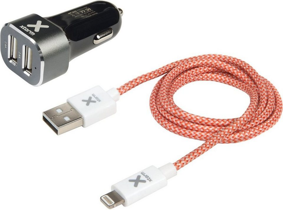 Xtorm Lader »Kfz Adapter (2 x USB) inkl. Apple Lightning Kabel« in Mehrfarbig