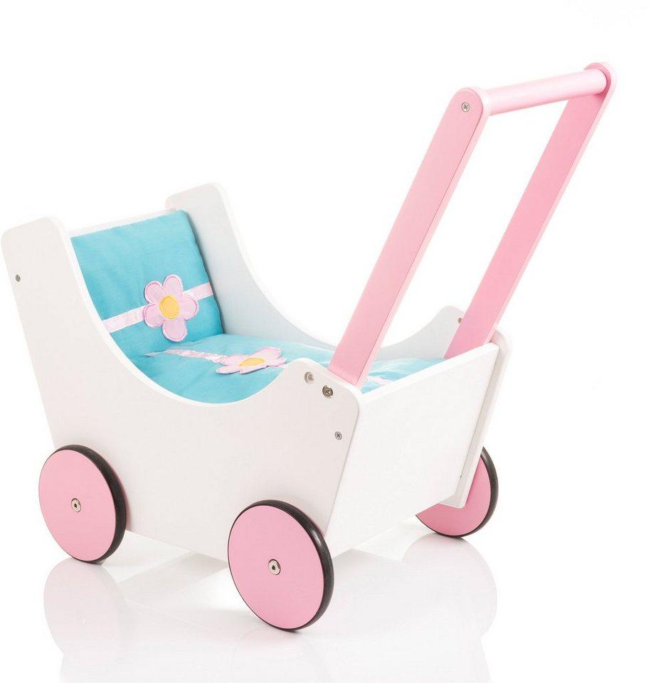 Sun Holzpuppenwagen, »Speedy Blümchen weiß/rosa« in weiß