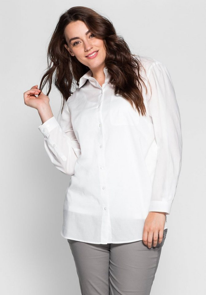 sheego Casual Longbluse mit modischem Druck in champagner